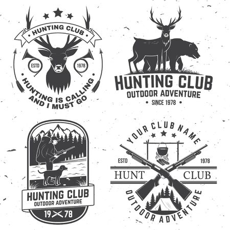 Set of Hunting club badge. Vector Concept for shirt, print, stamp. Vintage typography design with hunting gun, boar, hunter, bear, deer, mountains and forest. Outdoor adventure hunt club emblem Vector Illustratie