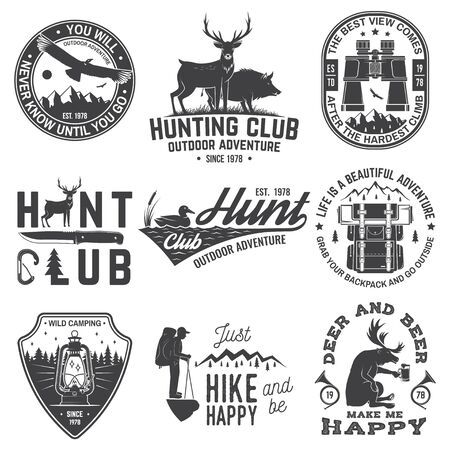 Set of hunting club and outdoor adventure quotes. Vector. Concept for shirt or logo, print, stamp, tee. Vintage design with backpack, binoculars, mountains, deer, tent, lantern and forest silhouette