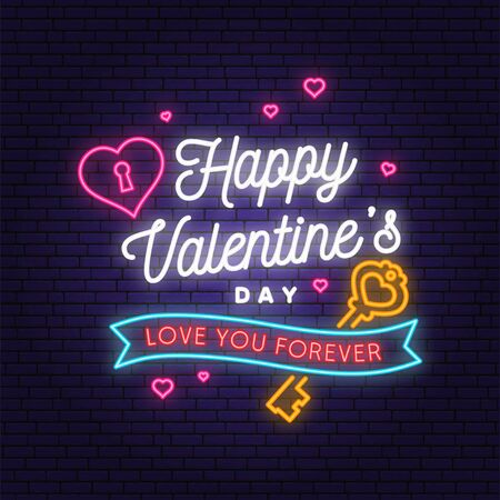 Happy Valentines Day neon greetings card, flyers, poster. Stamp, badge, sticker, card with key and heart with keyhole. Vector. Valentines Day neon bright signboard, light banner