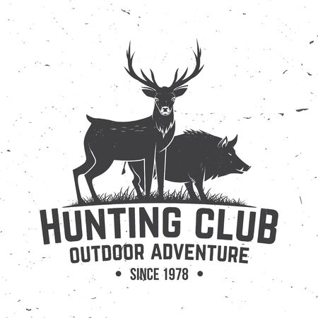 Hunting club badge. Vector. Concept for shirt or label, print, stamp, badge, tee. Vintage typography design with deer, boar silhouette. Outdoor adventure hunt club emblem