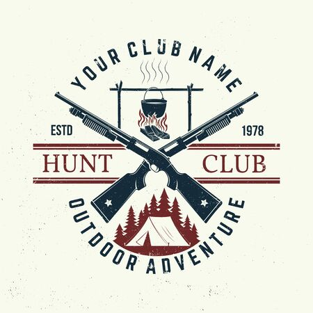 Hunting club. Vector. Concept for shirt, print, stamp or tee. Vintage typography design with hunting gun, pot on the fire, camping tent and forest silhouette. Outdoor adventure hunt club emblem