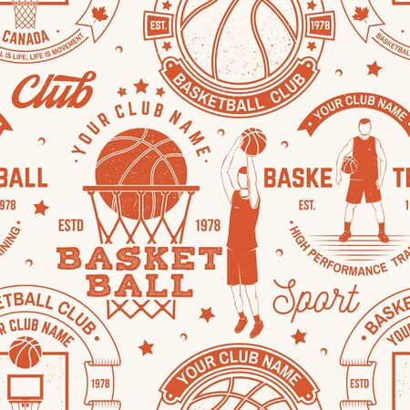 Basketball club seamless pattern or background. Vector. Seamless sport pattern with basketball ball, basket, hoop and player silhouette. Basketball sport club texture.