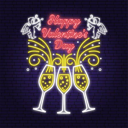 Happy Valentines Day neon greetings card, flyers, poster. Stamp, badge, sticker, card with Champagne glass and amur baby angel. Vector. Valentines Day neon bright signboard, light banner