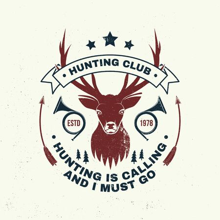 Deer and beer make me happy. Vector. Concept for shirt, label, print, stamp, badge, tee. Vintage typography design with deer and hunting horn silhouette. Outdoor adventure hunt club emblem Illustration