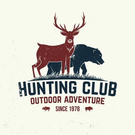 Hunting club badge. Vector. Concept for shirt or label, print, stamp, badge, tee. Vintage typography design with deer, bear and forest silhouette. Outdoor adventure hunt club emblem