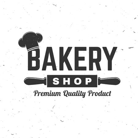 Bakery shop. Vector. Concept for badge, shirt, label, stamp or tee. Typography design with chef hat, text, rolling pin silhouette. Template for restaurant identity objects, packaging and menu