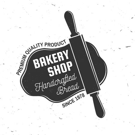 Bakery shop. Vector. Concept for badge, shirt, label, stamp or tee. Typography design with rolling pin, text, dough silhouette. Template for restaurant identity objects, packaging and menu