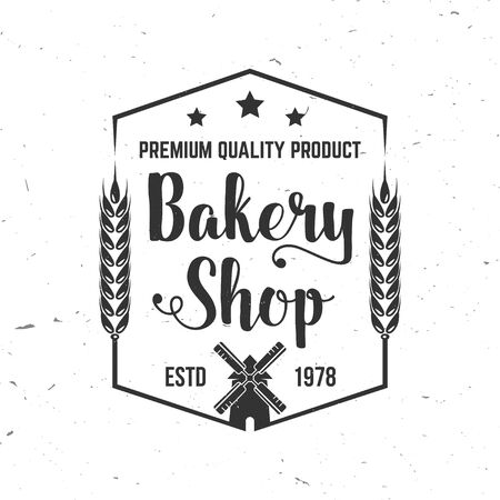 Bakery shop. Vector. Concept for badge, shirt, label, stamp or tee. Typography design with windmill, text, wheat ears silhouette. Template for restaurant identity objects, packaging and menu