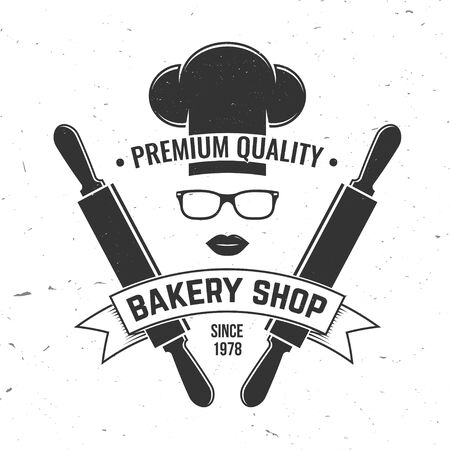 Bakery shop. Vector. Concept for badge, shirt, label, stamp or tee. Typography design with chef hat, text, lips silhouette. Template for restaurant identity objects, packaging and menu 일러스트