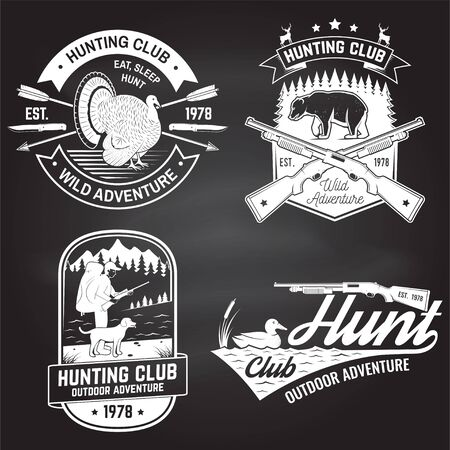 Set of Hunting club badge on the chalkboard. Vector. Concept for shirt, label, print, stamp. Vintage typography design with hunting gun, turkey , hunter, bear, duck, mountains and forest.