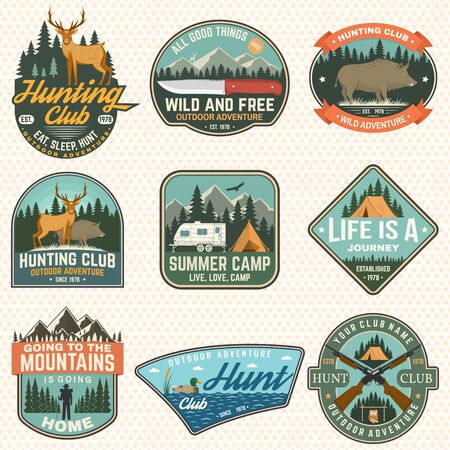 Set of hunting club and hiking club badge. Vector. Concept for shirt, print, stamp. Vintage design with rv trailer, camping tent, boar, deer and forest silhouette