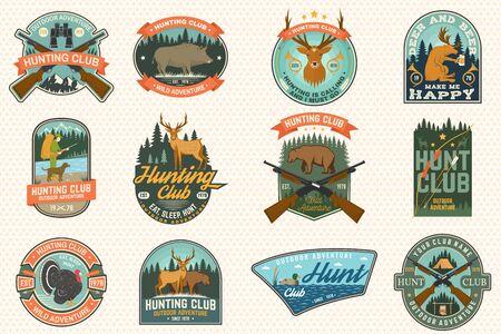 Set of Hunting club badge. Vector Concept for shirt, print, stamp. Vintage typography design with hunting gun, boar, hunter, bear, deer, duck and forest. Outdoor adventure hunt club emblem Иллюстрация