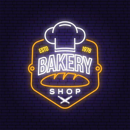 Bakery shop neon bright signboard, light banner. Vector. Concept for badge, shirt, label, print. Neon typography design with bread, text, chef hat silhouette. Template for restaurant identity Illustration