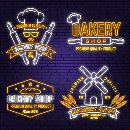 Set of Bakery shop neon bright signboard, light banner. Vector. Concept for badge, shirt. Neon design with rolling pin, dough, wheat ears silhouette. For restaurant identity