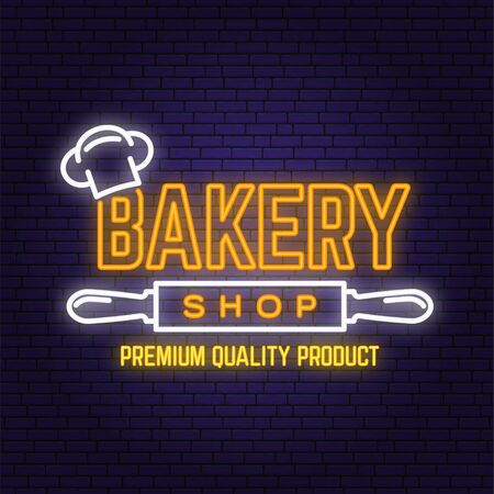 Bakery shop neon bright signboard, light banner. Vector. Concept for badge, shirt, label. Neon typography design with chef hat, text, rolling pin silhouette. Template for restaurant identity Illustration