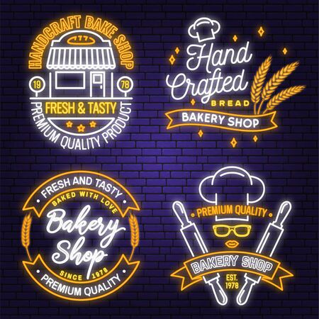 Set of Bakery shop neon bright signboard, light banner. Vector. Concept for badge, shirt. Neon design with rolling pin, dough, wheat ears, lips silhouette. For restaurant identity Illustration