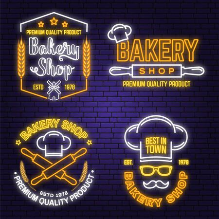Set of Bakery shop neon bright signboard, light banner. Vector. Concept for badge, shirt. Neon design with rolling pin, mustache , wheat ears silhouette. For restaurant identity