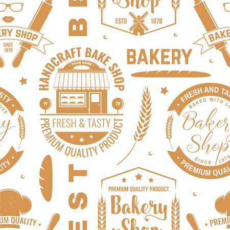 Bakery shop seamless pattern or background. Vector. Seamless bakery pattern with with rolling pin, bakehouse, wheat ears silhouette. Bakery shop texture. Illustration