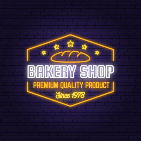 Bakery shop neon bright signboard, light banner. Vector. Concept for badge, shirt, label, print, stamp. Neon design with bread, text, fresh loaf,silhouette. Template for restaurant identity Illustration