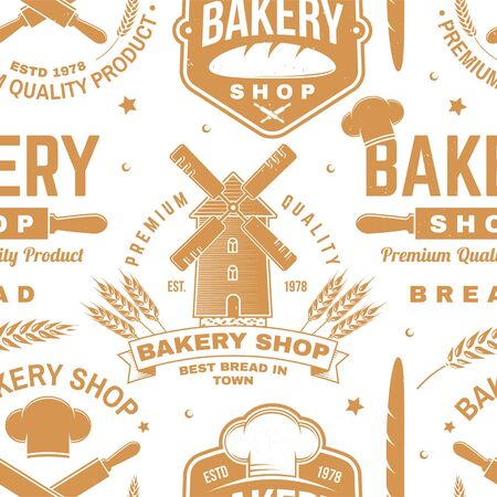 Bakery shop seamless pattern or background. Vector. Seamless bakery pattern with with rolling pin, mustache , wheat ears silhouette. Bakery shop texture.