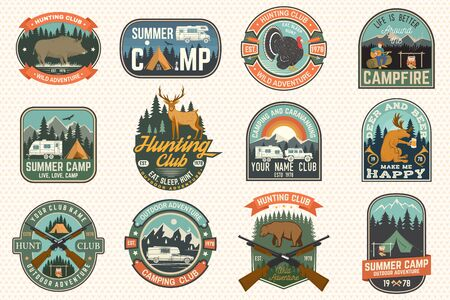 Summer camp and Hunting club patches. Vector. Concept for shirt print, stamp, patch. Patch design with rv trailer, camping tent, campfire, hunter, man with guitar and forest silhouette