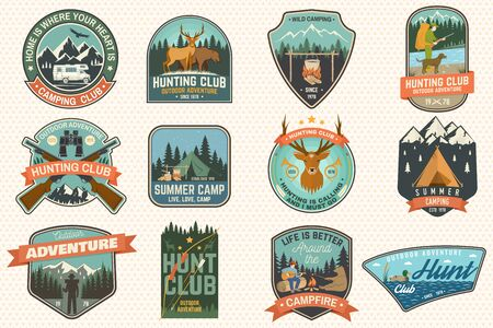 Summer camp and Hunting club patches.Vector. Concept for shirt print, stamp, patch. Patch typography design with rv trailer, camping tent, campfire, hunter, man with guitar, forest 向量圖像