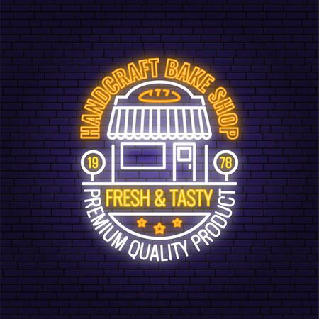Bakery shop neon bright signboard, light banner. Vector. Concept for badge, shirt, label, print, stamp. Neon typography design with bakery shop silhouette. Template for restaurant identity