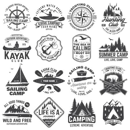 Summer camp, hunting club, sailing camp, yacht club, canoe and kayak club badges. Vector.