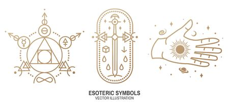 Esoteric symbols. Vector. Thin line geometric badge. Outline icon for alchemy or sacred geometry. Mystic and magic design with philosopher stone, old sword, hand, stars, planets and moon.