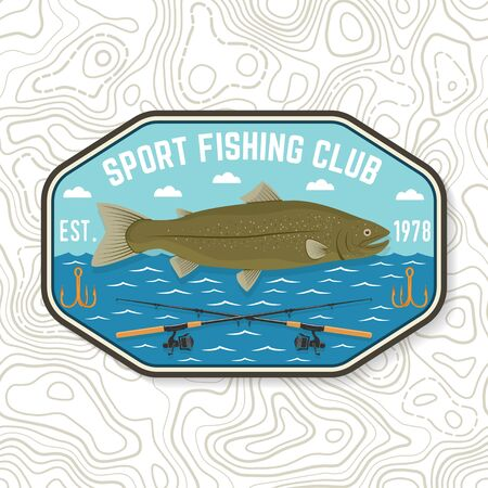 Fishing sport club patch. Vector. Concept for shirt or print, stamp, tee, patch. Vintage typography design with fish rod and rainbow trout silhouette.