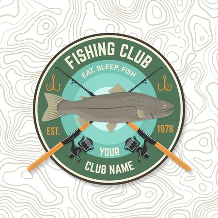 Fishing sport club patch. Vector. Concept for shirt print, stamp, tee, sticker, patch. Vintage typography design with fish rod and rainbow trout silhouette.