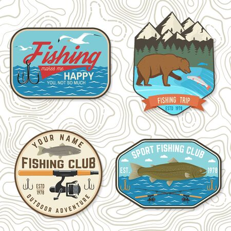 Set of fishing patch. Vector. Concept for shirt print, stamp, tee, patch. Vintage typography design with river, rainbow trout, bear and mountain silhouette.