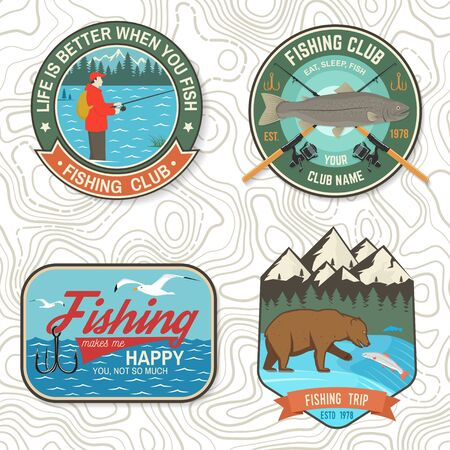 Set of fishing patch. Vector. Concept for shirt print, stamp, tee, patch. Vintage typography design with fisher, river, rainbow trout, bear and mountain silhouette.