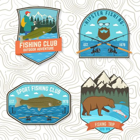 Set of fishing patch. Vector. Concept for shirt, print, stamp, tee, patch. Vintage typography design with fisher, river, rainbow trout, bear and mountain silhouette.