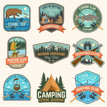 Set of hunting and fishing club patches. Vector. Concept for shirt, stamp, patch. Vintage design with hunter with a dog, fish rod, rainbow trout, hook, bear and forest silhouette
