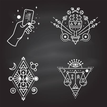 Esoteric symbols. Vector. Thin line geometric badge. Outline icon for alchemy or sacred geometry. Mystic and magic design with all-seeing eye, hand, cup and snakes, law scale.