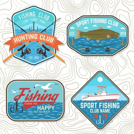 Set of fishing club patch. Live, love, fish. Vector. Concept for shirt, print, stamp, tee, patch. Vintage typography design with fish rod, rainbow trout and hook silhouette. Vectores