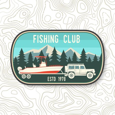 Boating and Sport Fishing club patch. Vector illustration. Concept for shirt, print, stamp, patch, tee. Vintage typography design with fish rod silhouette.