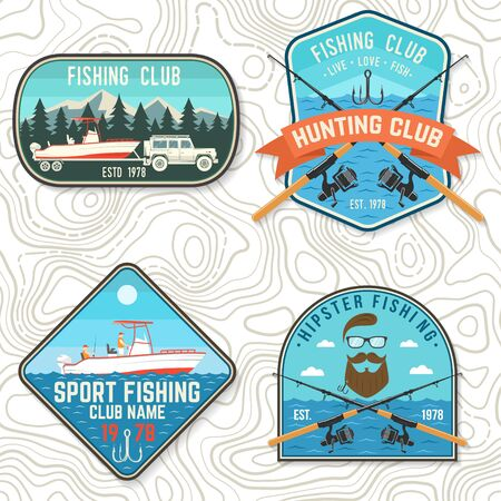 Set of fishing club patch. Live, love, fish. Vector. Concept for shirt, print, stamp, tee, patch. Vintage typography design with fish rod, rainbow trout and hook silhouette.
