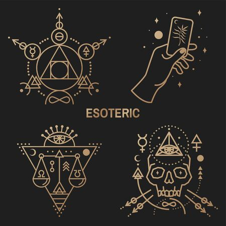 Gold esoteric symbols. Vector. Thin line geometric badge. Outline icon for alchemy or sacred geometry. Mystic and magic design with philosopher stone, hand, skull and law scale.