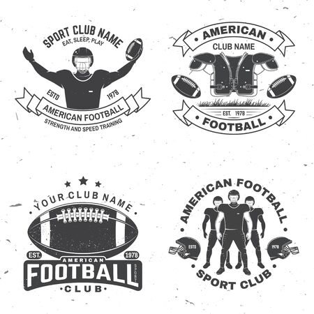 Set of american football or rugby club badge. Vector for shirt, print, stamp, patch. Vintage design with american football sportsman player, helmet, ball and shoulder pads silhouette