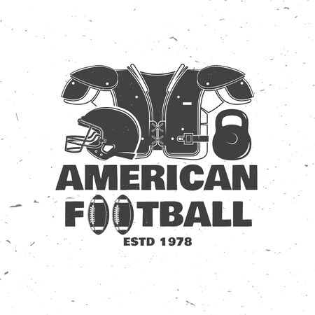 American football or rugby club badge. Vector. Concept for shirt, print, stamp, tee, patch. Vintage typography design with american football ball and helmet silhouette Ilustração