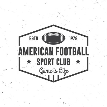 American football or rugby club badge. Vector. Concept for shirt, print, stamp, tee, patch. Vintage typography design with american football ball silhouette