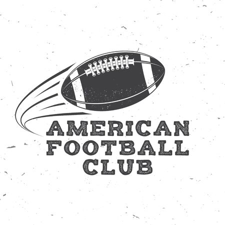 American football or rugby club badge. Vector. Concept for shirt, print, stamp, tee, patch. Vintage typography design with flying american football ball silhouette  イラスト・ベクター素材