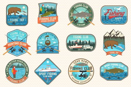 Set of fishing patch. Vector. Concept for shirt or print, stamp, tee, patch. Vintage typography design with fisher, river, rainbow trout, bear and mountain silhouette.