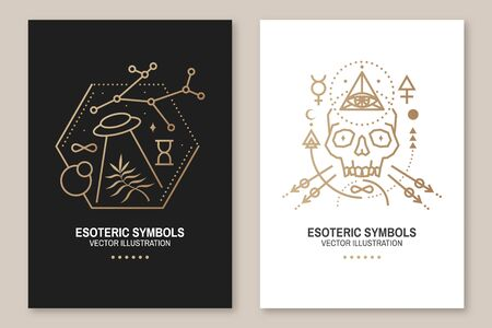 Esoteric symbols. Vector. Thin line geometric badge. Outline icon for alchemy or sacred geometry. Mystic and magic design with skull, sun, ufo flying, stars and moon