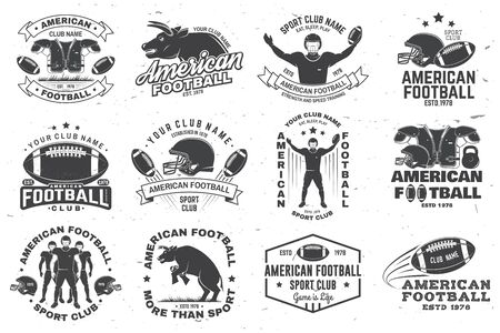 Set of american football or rugby club badge. Vector for shirt, print, stamp, patch. Vintage design with bull, american football sportsman player, helmet, ball and shoulder pads silhouette Ilustração Vetorial