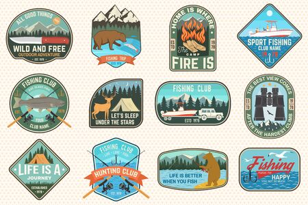 Set of fishing, camping patch. Vector. Concept for shirt or  print, stamp, tee, patch. Vintage typography design with fish rod, fisher, river, rainbow trout, bear , mountain silhouette.