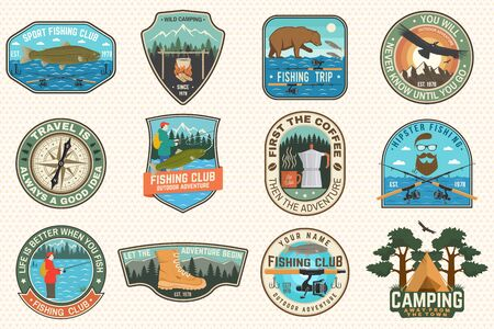 Set of fishing, camping patch. Vector. Concept for shirt print, stamp, tee, patch. Vintage typography design with fisher, river, rainbow trout, bear, mountain silhouette. Vetores