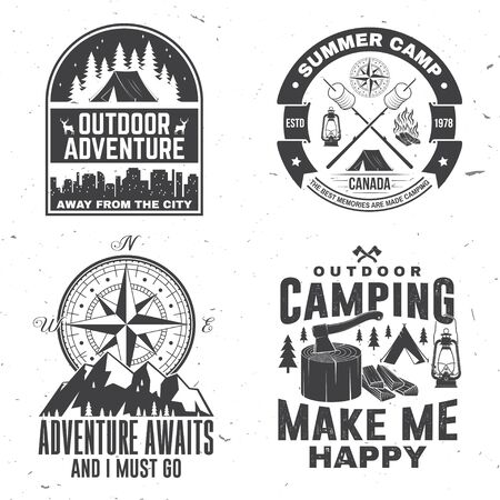 Set of outdoor adventure inspirational quote. Vector. Concept for shirt, print, stamp or tee. Vintage typography design with camper tent, mountain, forest landscape silhouette.